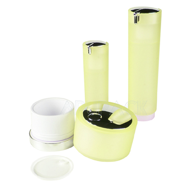 Round Airless Cosmetic Jar with Base Set